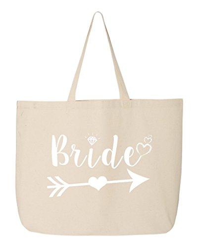Shop4Ever Bride Heart Arrow White Jumbo Heavy Canvas Tote Wedding Reusable Shopping Bag 10 oz Natural 1 Pack Jumbo