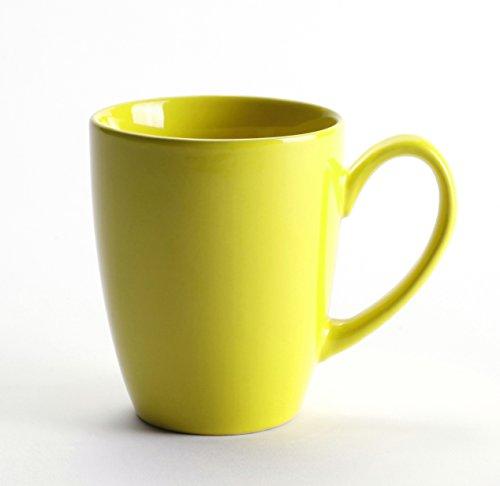 LEANDALE Aaron Ceramic Coffee Tea Mug Cup(12 OZ)-Multi Solid Colour (Yellow)
