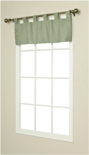 Commonwealth Home Fashions Thermalogic Weathermate Insulated Solid Color Tab Top Valance, Sage, 40 x 15