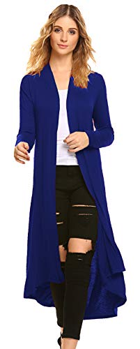 POGTMM Women's Long Open Front Drape Lightweight Duster High Low Hem Maxi Long Sleeve Cardigan with Pocket(S-3XL) (Royal Blue, US - Pack Multi Plus