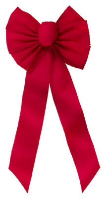 Holiday Trim 6511 7 Loop 10''W x 22''L x 2-3/4'' Red Ripple Embossed Velvet Christmas Bow - Quantity 14