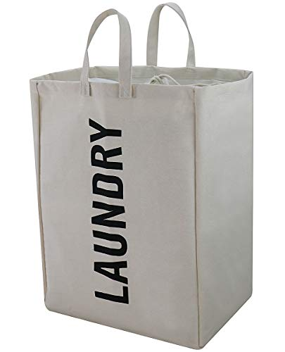 Foldable Heavy-Duty Laundry Basket, Jumbo Laundry Hamper, Laundry Tote, Beige