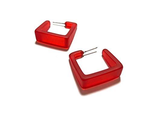 Cherry Red Square Hoop Earrings | Red Cubist Vintage Lucite Hoops