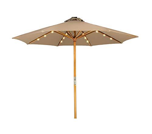 Trаdеmаrk Innоvаtiоns Patio Outdoor Garden Premium 9' Solar Powered LED Lighted Wood Frame Patio Umbrella (Tan) (Inn Patio)