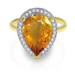 14k Yellow Gold Teardrop Citrine and Diamond Ring - Size 9.5