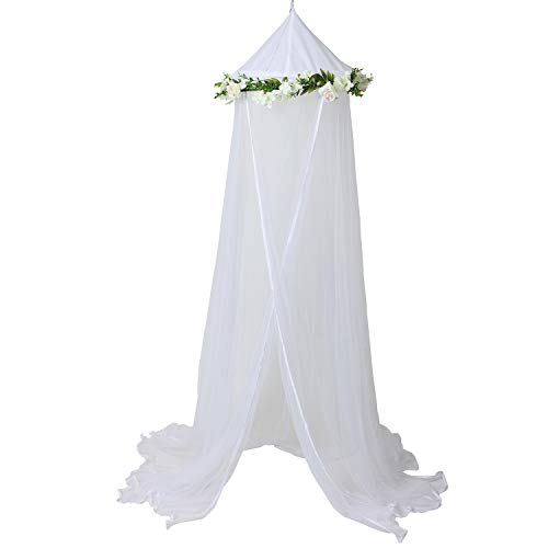 Bobo and Bee -  Enchanted Bed Canopy Mosquito Net For Girls, Kids, Baby, With Detachable Cream Rose and Ivy Garland - Twin Size, White with Satin Trim - Perfect Boho Woodland Nursery Decor from Bobo & Bee