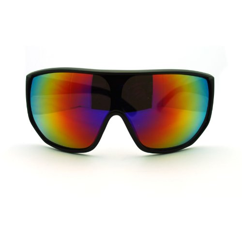 Futuristic Mens Oversized Shield Mono Lens Sport Warp Sunglasses Black