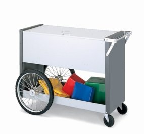 Charnstrom Long Solid Metal Cart with 16-Inch Rear Tires and Locking Top (B151Y) by Charnstrom