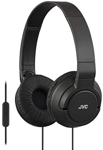 (JVC Lightweight Flat Foldable On Ear Colorful Lightweight Foldable Headband with Mic, Black (HASR185B) (Renewed) )
