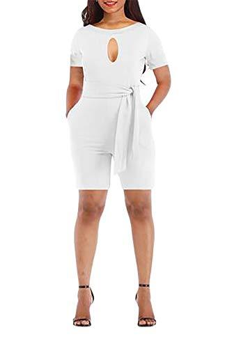 - Grace Elbe Women's Bust Keyhole Short Sleeve Romper Belted Jumpsuit White Large