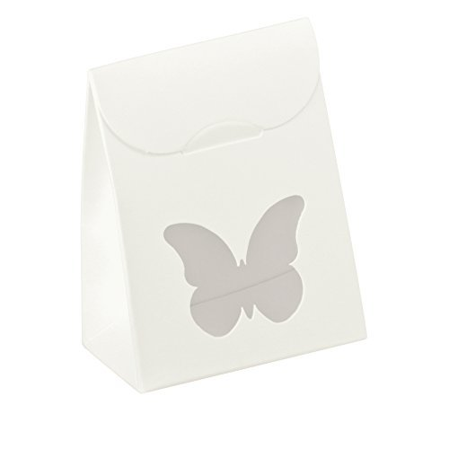 Decorative Gift Favor Box with Lid Butterfly Cutout, Set of 12, Best Designer Quality for Birthday, Wedding, Parties, Easy Fold, No Assembly Required, White (2.4 x 1.4 x 3.1 in)