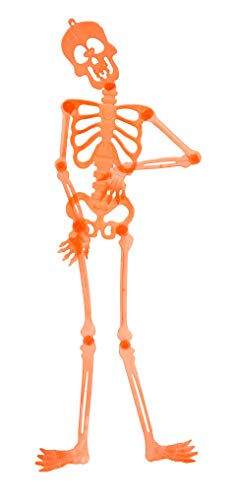 A&T Designs 3 ft Plastic Skeleton Jointed Wall Decoration for Halloween Party - Posable Arms and Legs (Orange) ()