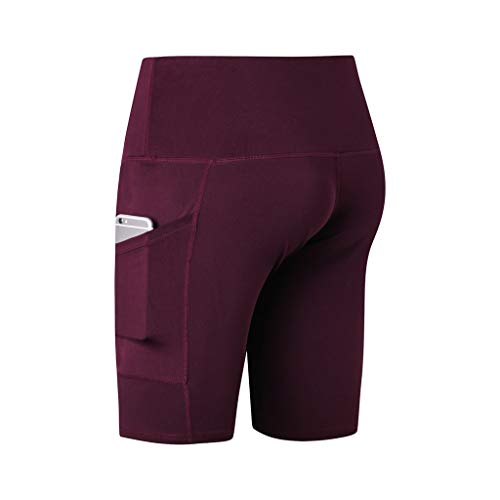 (HTDBKDBK Women's High Waist Yoga Short Abdomen Control Training Running Yoga Pants Short Pants Wine)