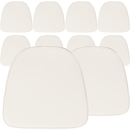 (Flash Furniture Soft Fabric Chiavari Chair Cushion (10 Pack), Size, Ivory)