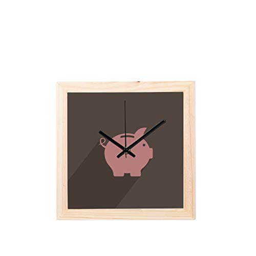 Wall Clock for Office Pink Pig Piggy Bank Money Non-Ticking Square Silent Wooden Diamond Display Wall Clocks Painting Dial Kitchen Bedroom Decor Girl Wall Clock (Pig Clock Bank)