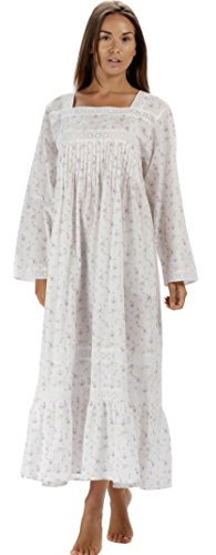 - The 1 for U Cotton Nightgown with Pockets - White (XS, Lilac Rose)