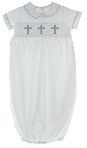Petit Bebe Infant Boys White Christening Gown Outfit Smocked Crosses Blue (0-3M)