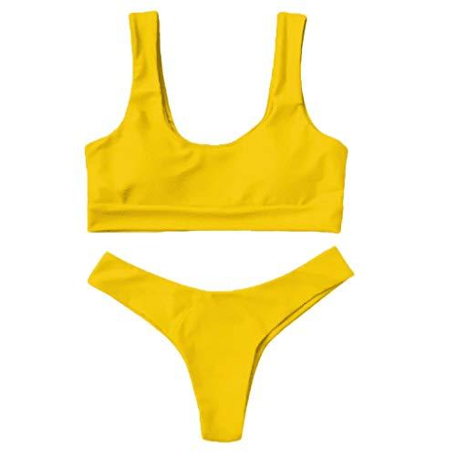- HHei_K Women Swimsuit, Ladies Summer Fashion Tube Tops Twist Front Thong Strapless Bathing Suit Swimwear Bikini Set (XXL, 15-Yellow)
