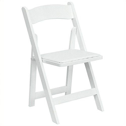 Flash Furniture HERCULES Series White Wood Folding Chair with Vinyl Padded Seat by Flash Furniture
