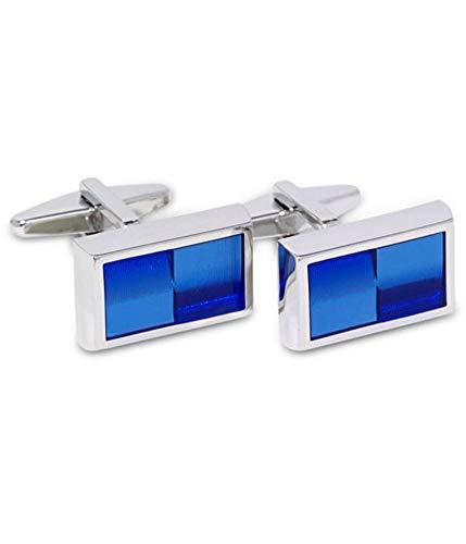 (Kenneth Cole Reaction Men's Enamel Cufflinks, Silver/Blue, One Size)