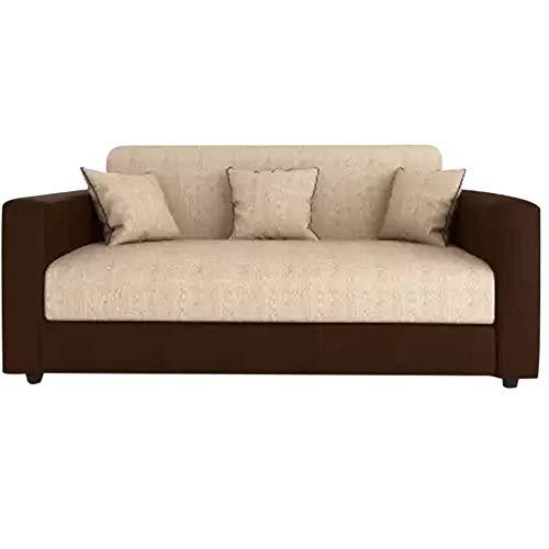 Furny Livingud 3 Seater Fabric Sofa Set  Cream Brown