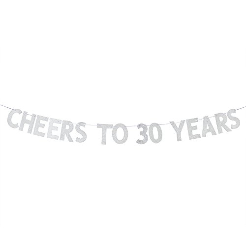 Cheers to 30 Years Banner - Happy 30th Birthday Party Bunting Sign - 30th Wedding Anniversary Decorations Supplies - Silver