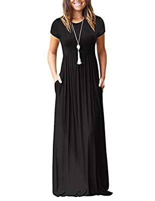 Mljsh Women's Short Sleeve Loose Plain Maxi Casual Dress with Pockets Floor Length Long Dresses
