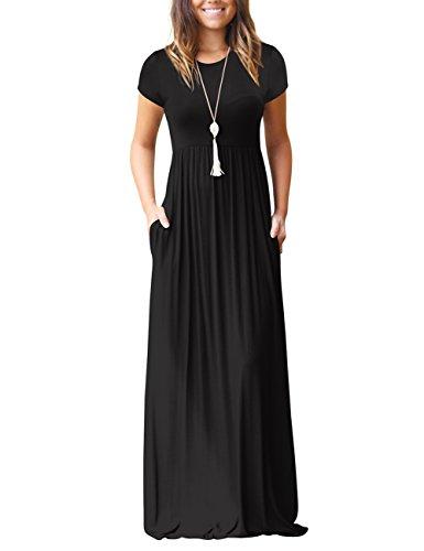 Mljsh Womens Short Sleeve Loose Plain Maxi Casual Dress with Pockets Floor Length Long Dresses