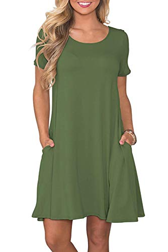 Fantastic Zone Women's Casual Summer T Shirt Dresses Short Sleeve Swing Dress with Pockets Army - Necklace Green Casual