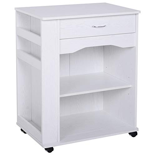 HOMCOM Rolling Kitchen Island Trolley Ultility Cart Microwave Oven Stand Wood with Side Rack & Storage - White