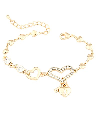 Young & Forever Women's Navratri Diwali Special Diamond With Heart Lock Pendant Bracelet Gold Toned by Young & Forever