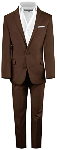 Black n Bianco Boys' First Class Slim Fit Suits Lightweight Style. Presented by Baby Muffin (14, Coco Brown)