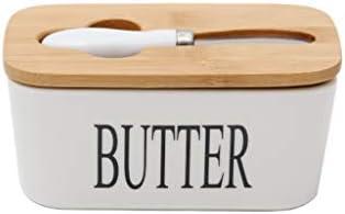 竹蓋付きセラミックバターディッシュ、バターナイフ食品保存キャンディボックス、セラミックホワイトブラックレター英語バターディッシュとバターキーパーコンテナ (Color : A)