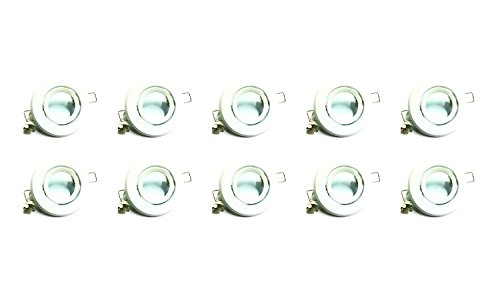 MR16 Flush Swivel Spot Light Fixture Halogen LED Mounting Bracket Bulb Holder Kitchen Bathroom Under Cabinet Counter Housing Recessed Lighting GU5.3 Socket Wiring Dimmable (Matte White) Pack of 10