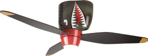 - Craftmade Kids Ceiling Fan Boys WB348TS Tiger Shark Warplane With Light, 48-Inch 3 Blade Hugger Ceiling Fan