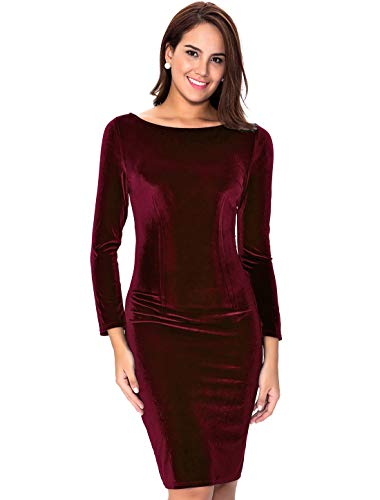 InsNova Women's Burgundy Long Sleeve Velvet Midi Dress for Cocktail Party