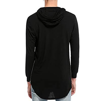 Jedyful Mens Hipster Long Sleeve Side Zipper Hooded Shirt Pullover Sweatshirt at  Men's Clothing store