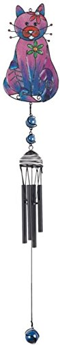 - StealStreet SS-G-99952, Wind Chime with Black Coated Gems Cat with Fish Bone Hanging Decor