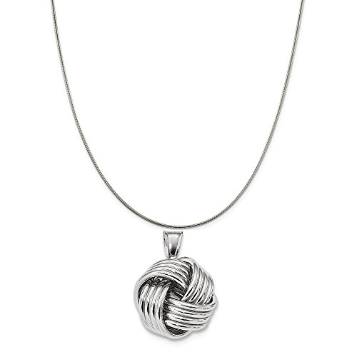 (Sterling Silver Rhodium-Plated Love Knot Pendant on a Sterling Silver Snake Chain Necklace, 20