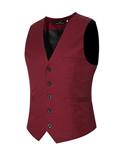 Vin Business Rouge Manche Slim Fit Sans Homme Casual De Costumes Gilet Veste Vintage p71Pqx07w