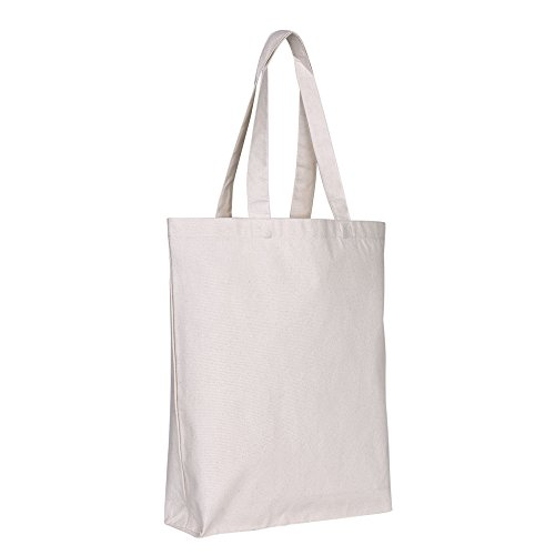 BagzDepot (Pack of 12) Blank Canvas Reusable Plain Grocery Promo Tote Bags with Bottom Gusset - 15