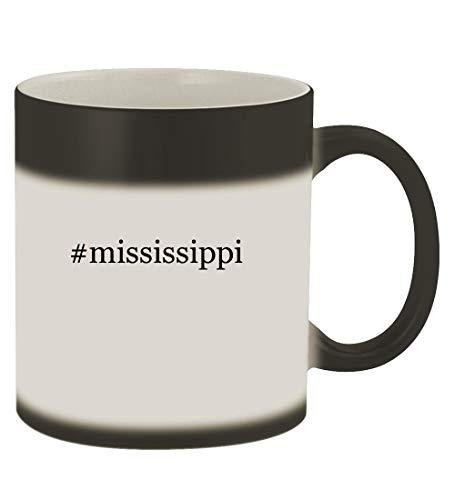 #mississippi - 11oz Hashtag Magic Color Changing Mug, Matte Black College Mens All Star Watch