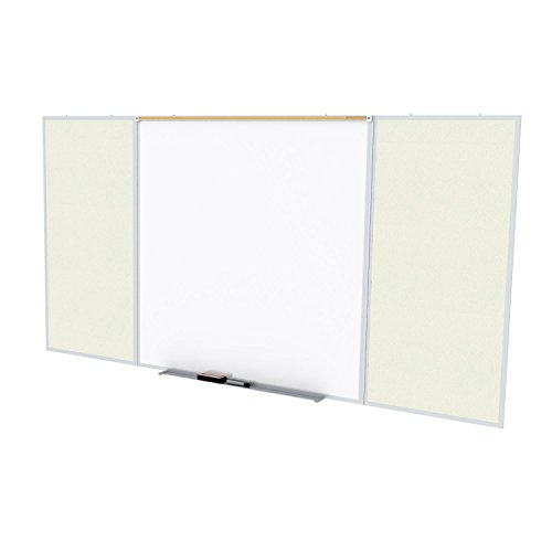 Ghent Style D 4 x 10 Feet Combination Board, Porcelain Magnetic Whiteboard and Vinyl Fabric Bulletin Board, Ivory , Made in the USA by Ghent