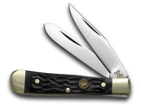 Pickbone Handle - Hen and Rooster Black Pickbone Tiny Trapper Pocket Knife Knives