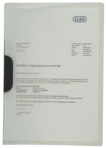 Elba 100421013 Klemm-Mappe mit clip-fix-System, PP 0.5 mm, für circa 30 DIN A4-Blätter, 10 Stück, farblos
