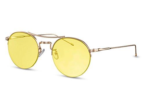 Noir Cheapass Sunglasses Léo Lunettes Or Rondes Marron Ca 026 Miroitant Rétro qgtBg