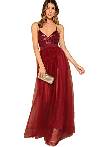 SheIn Women's Sexy Satin Deep V Neck Backless Maxi Party Evening Dress Medium Sequin-Burgundy#3