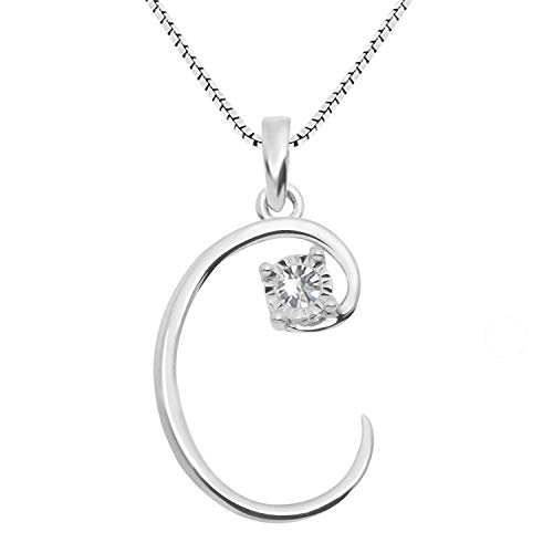 - JewelExclusive Sterling Silver .05 cttw White Diamond Initial C Pendant