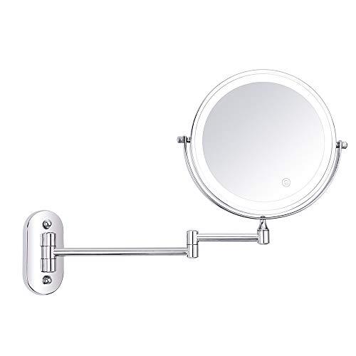 DUKKL 8-inch Folding LED Vanity Mirror Wall-Mounted Vanity Mirror Double-Sided Illuminated Mirror -