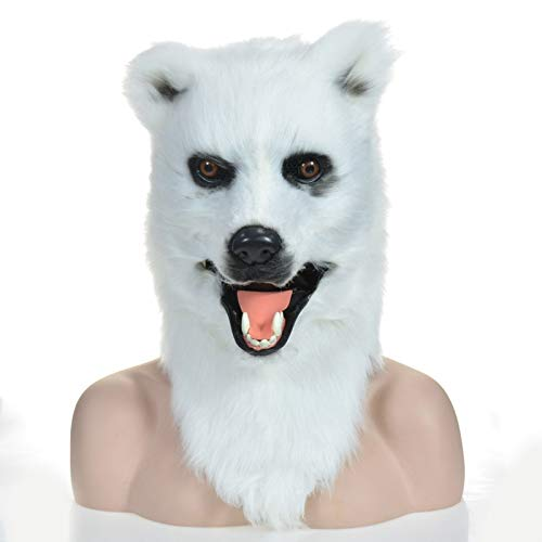 KX-QIN Moving Mouth Scary Animal Mask Halloween Party Brown Bear Mask Deluxe Novelty Halloween Costume Party Latex Animal Head Mask for Adults and Kids (Color : White) by KX-QIN